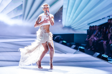 Halsey performs on the runway during the 2018 Victoria's Secret Fashion Show held at Pier 94 in New York, NY