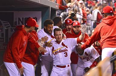 Apr 25, 2018; St. Louis, MO, USA; St. Louis Cardinals third baseman Jedd Gyorko (3) is congratulated by teammates after hitting a two run home run.