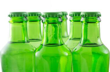 green soda bottles