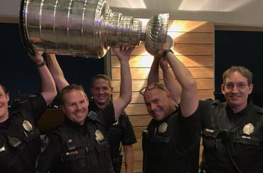 Clayton police officers and Stanley Cup