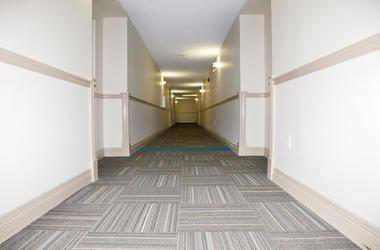 Stock image of apartment hallway.