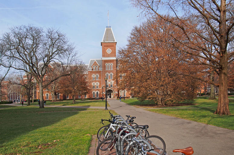 College campus with bicycle rack