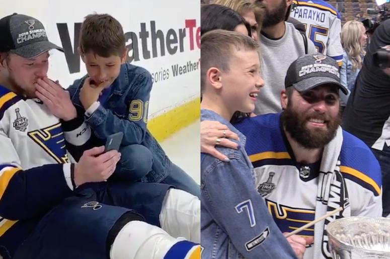 sports shoes 23579 caf1f St. Louis Blues Players Kids Join in Stanley Cup ...