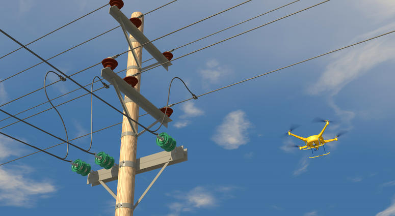 Drone inspecting power lines