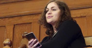 Rachel Sweet, a lobbyist for Planned Parenthood Great Plains, watches at the Kansas Senate debates a resolution
