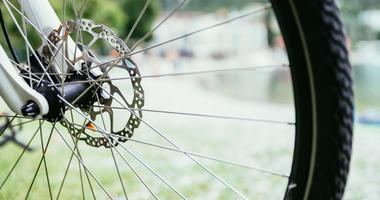Close up of a bike tire