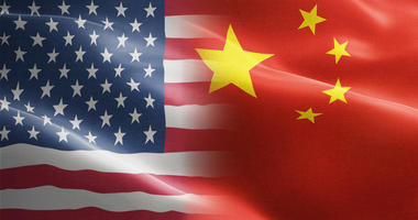 Flag of United States of America against China