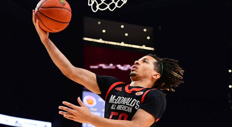 Cole Anthony of Oak Hill Academy in Virginia goes up for a layup during the 2019 McDonald's High School Boys All-American Game.