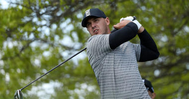 Brooks Koepka of the United States plays his shot from the 18th tee during a practice round prior to the 2019 PGA Championship at the Bethpage Black