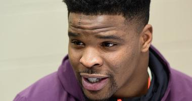 San Francisco 49ers draft pick Dre Greenlaw answers questions at the NFL Combine.