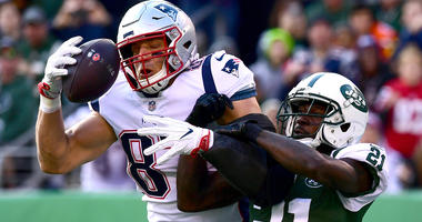 Rob Gronkowski makes a catch for the New England Patriots against the New York Jets in 2018.