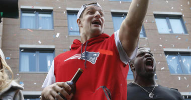 Rob Gronkowski of the New England Patriots celebrates at the Super Bowl parade in 2019.