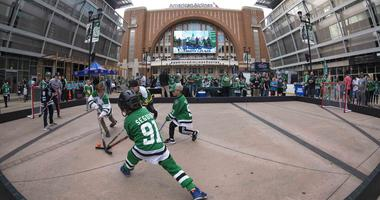 Dallas Stars fans congregate outside American Airlines Center before Game 3 against the St. Louis Blues.