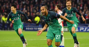 Lucas Moura and Tottenham celebrate the third goal in their rally against Ajax in the Champions League semfinals.