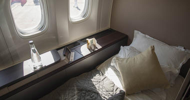 A first class airplane cabin