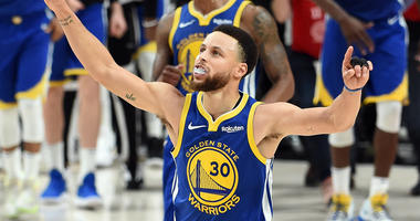 Stephen Curry #30 of the Golden State Warriors celebrates defeating the Portland Trail Blazers 119-117 during overtime in game four of the NBA Western Conference Finals to advance to the 2019 NBA Finals at Moda Center on May 20, 2019 in Portland, Oregon.