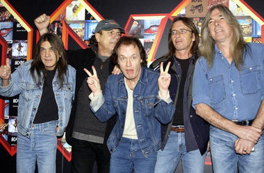 Malcolm Young, Brian Johnson, Angus Young, Phil Rudd and Cliff Williams from AC/DC