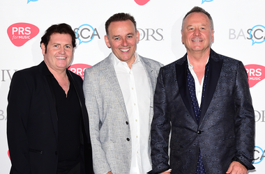5/19/2016 - Charlie Burchill,Mick MacNeil and Jim Kerr of Simple Minds attending the 61st Annual Ivor Novello Music Awards at Grosvenor House in London. PRESS ASSOCIATION Photo. Picture date: Thursday 19th May, 2016. See PA story SHOWBIZ Novello. Photo cr