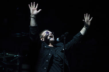 June 13, 2018; Philadelphia, PA, USA; U2 frontman Bono performs during a concert at the Wells Fargo Center. Mandatory Credit: Joe Lamberti/Courier Post via USA TODAY NETWORK