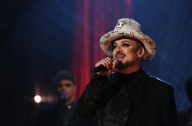 12/20/2018 - Boy George and Culture Club perform during the filming of the Graham Norton Show at BBC Studioworks 6 Television Centre, Wood Lane, London, to be aired on BBC One on Friday evening. PRESS ASSOCIATION. Issue date: Thursday December 20, 2018. P