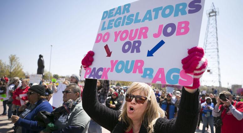 Hilda Martinez, a kindergarten teacher in Oklahoma City, rallies on the second day of the Oklahoma teachers walkout, at the capitol in Oklahoma City.