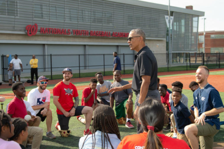 President Obama talks to kids at the Washington Nationals Youth Academy