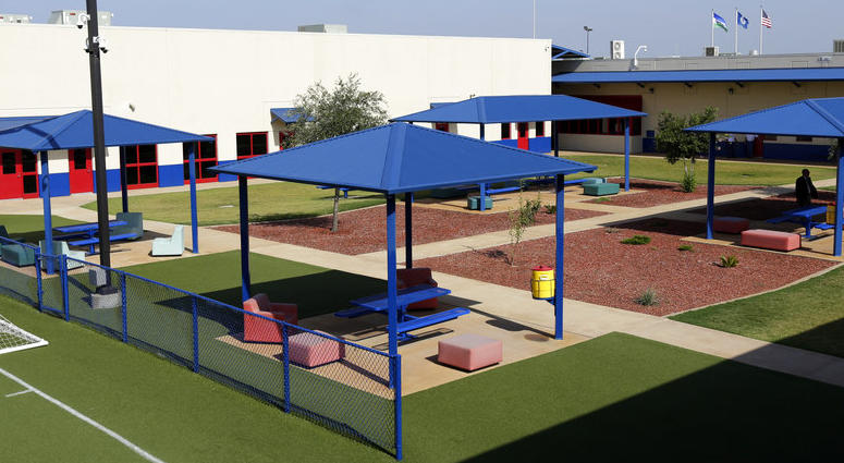 A courtyard is seen at the Karnes County Residential Center