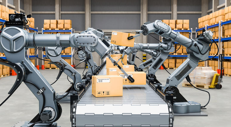 Automatic warehouse with robotic arms