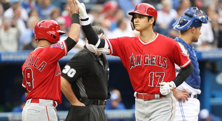 Shohei Ohtani of the Angels celebrates a home run against the Blue Jays.