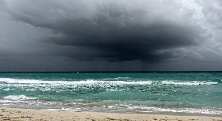 View of a storm on the ocean