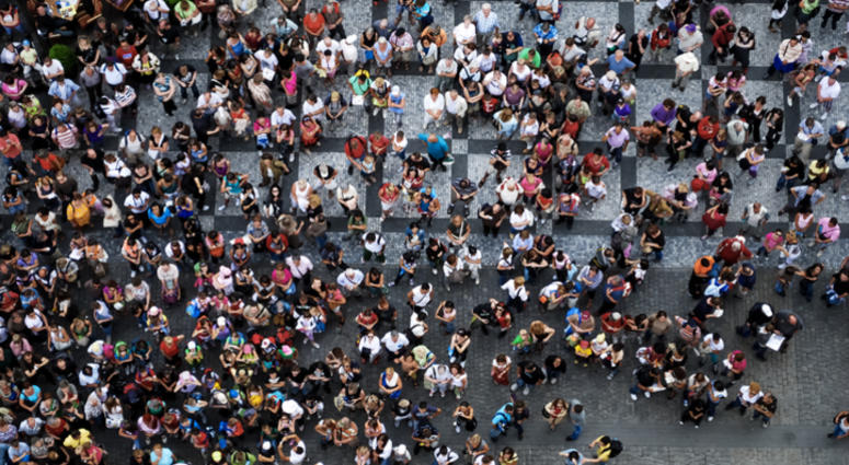 Aerial photograph of people gathered in a square