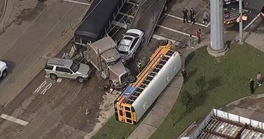 School Bus And 18-Wheeler Collide In Garland