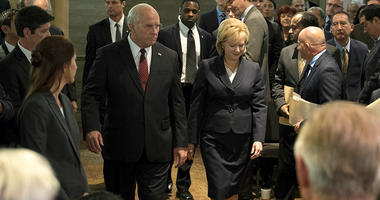 "Christian Bale as Dick Cheney, left, and Amy Adams as Lynne Cheney in a scene from ""Vice."""