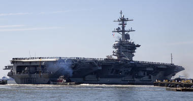 the USS Abraham Lincoln deploys from Naval Station Norfolk
