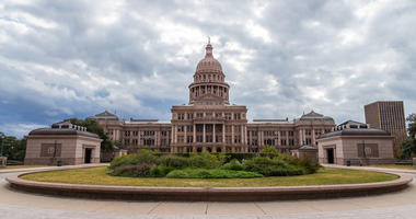 Texas state capital building in cloudy day, Austin. Architecture, congress.