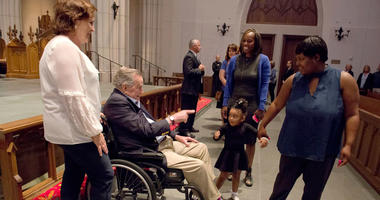 """Former President George H. W. Bush greets the mourners with his daughter Dorothy """"Doro"""" Bush Koch during the visitation for former first lady Barbara Bush at St. Martin's Episcopal Church Friday, April 20, 2018, in Houston."""
