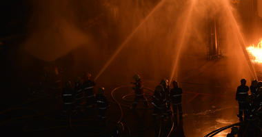 Fireman in firefighting at night