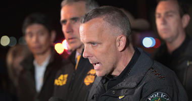 Austin Police Chief Brian Manley speaks to the media near the location where the suspected package bomber was killed in suburban Austin on March 21, 2018 in Round Rock, Texas. The 24-year-old suspect blew himself up inside his car as police approached the