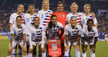 The USA Women's National team poses before a game at the 2019 She Believes Cup.