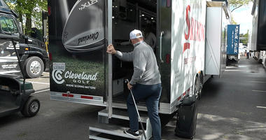 Behind the scenes equipment truck at Bethpage Black