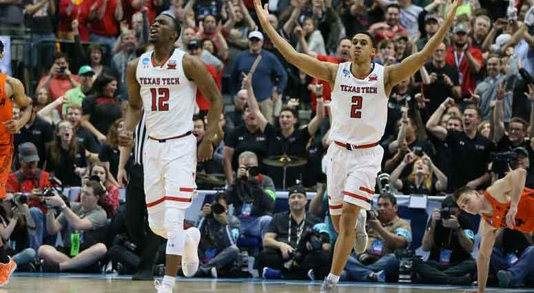 Texas Tech Red Raiders guard Zhaire Smith (2) reacts late in the second half with guard Keenan Evans