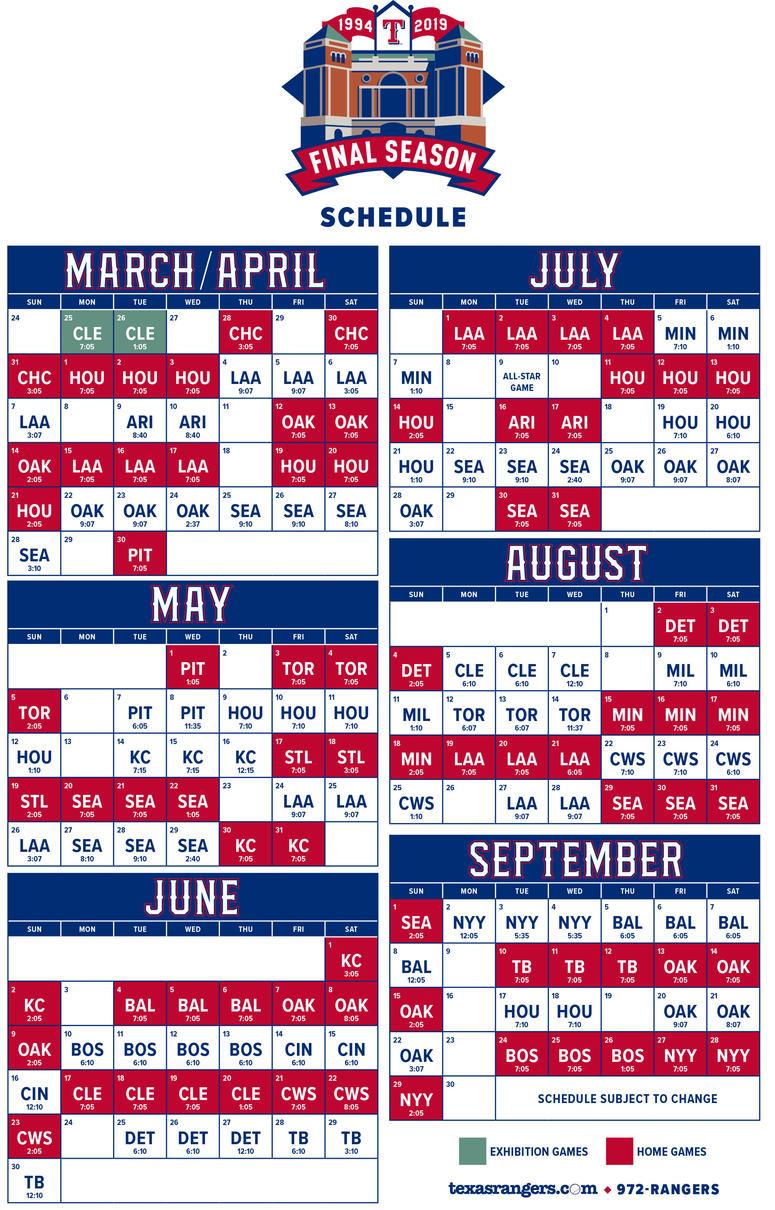 2019 Texas Rangers Schedule