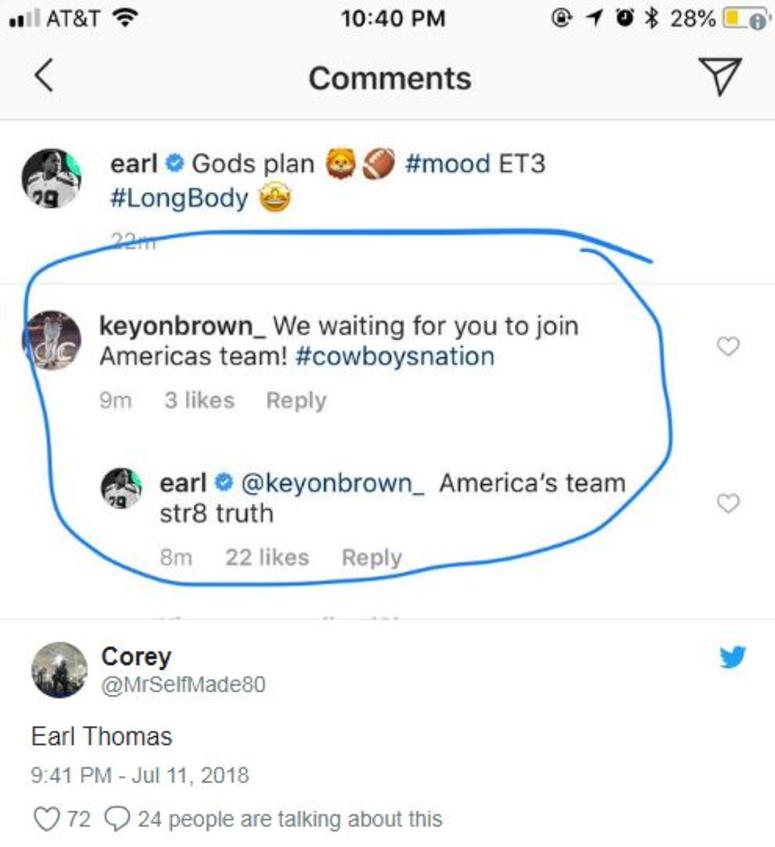Earl Thomas Instagram Post
