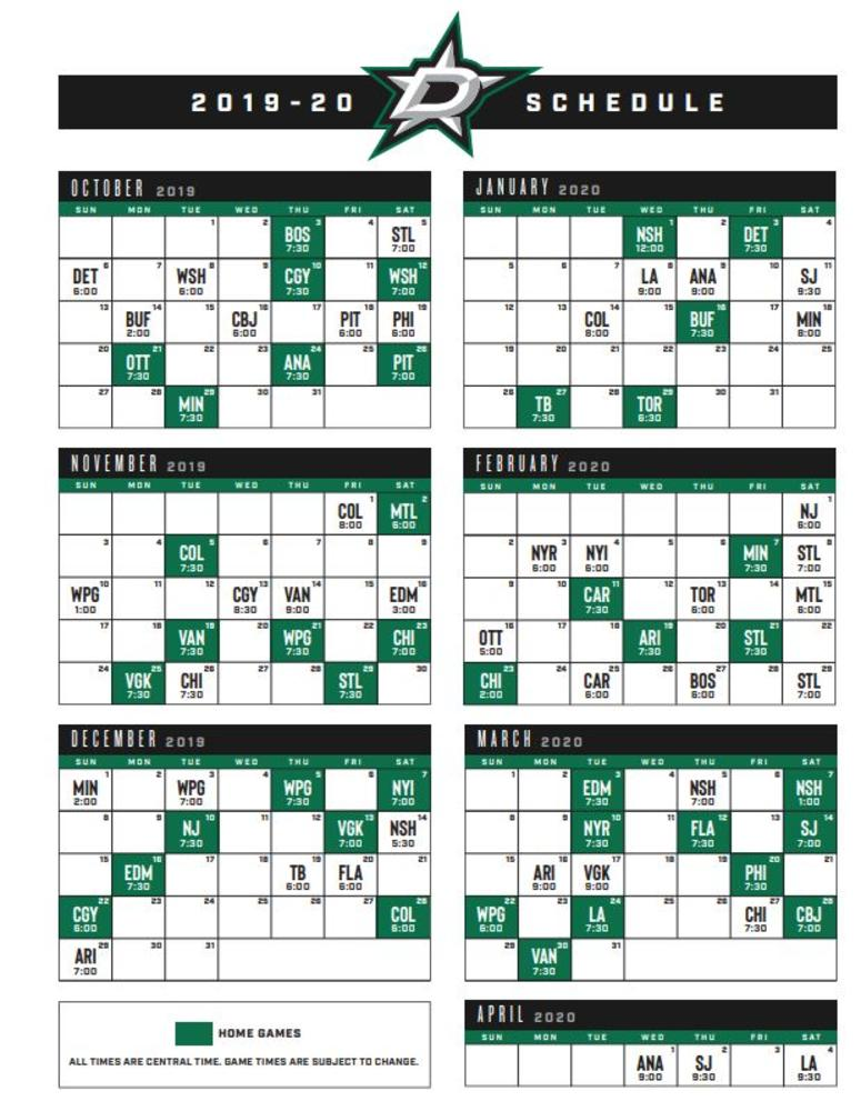 Dallas Stars Schedule