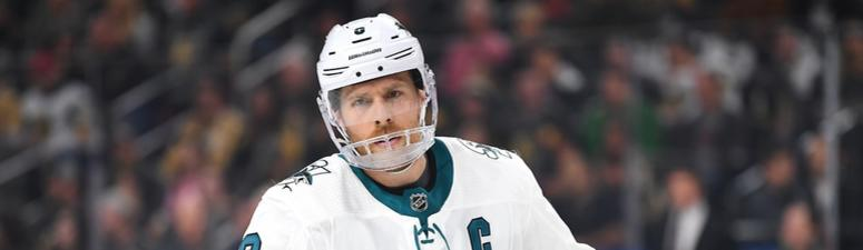 Apr 16, 2019; Las Vegas, NV, USA; San Jose Sharks center Joe Pavelski (8) in action during the second period against the Vegas Golden Knights in game four of the first round of the 2019 Stanley Cup Playoffs at T-Mobile Arena