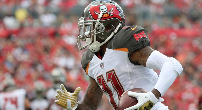 Nov 11, 2018; Tampa, FL, USA; Tampa Bay Buccaneers wide receiver DeSean Jackson (11) runs with the ball during the second half at Raymond James Stadium.