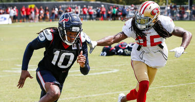 Houston Texans wide receiver DeAndre Hopkins (10) and San Francisco 49ers defensive back Richard Sherman