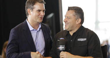 Tony Stewart, right, is congratulated by Jeff Gordon after being named to the NASCAR Hall of Fame class of 2020