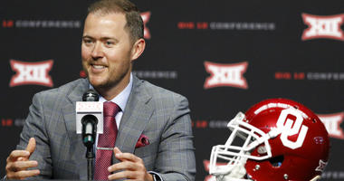 Oklahoma head coach Lincoln Riley speaks on the first day of Big 12 Conference NCAA college football media days