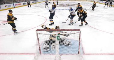 Tuukka Rask of the Boston Bruins allows the game-winning goal to Carl Gunnarsson of the St. Louis Blues in overtime in Game Two of the 2019 NHL Stanley Cup Final.